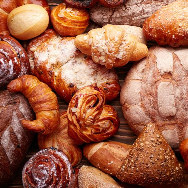 various different types of bread from a bakery
