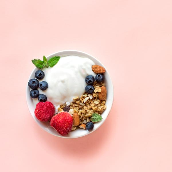 A bowl of yougurt, blueberries and some granola as seen from above