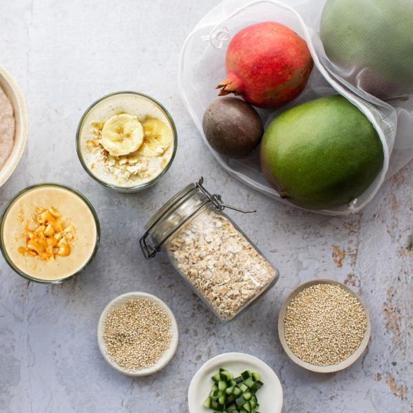 Plant based smoothies, oats, mango and melon