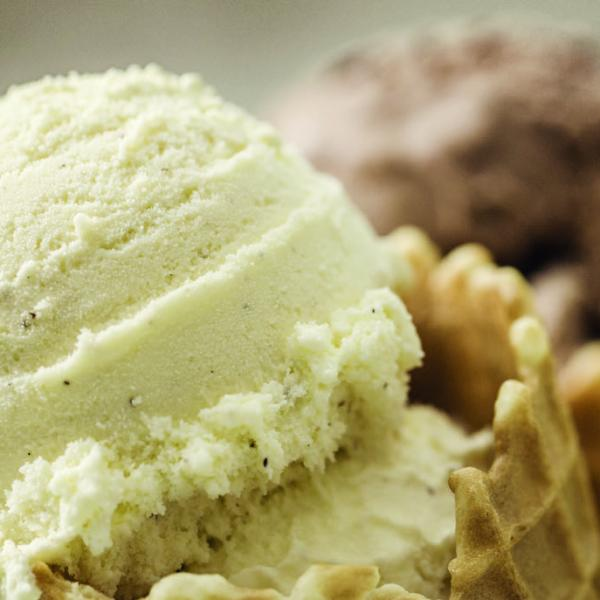 Close up of three scoops of ice-cream. Vanilla, chocolate and mint are featured.